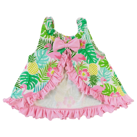 AnnLoren Baby/Toddler Girls Open Back Swing Tank Top with Bow Tropical Design