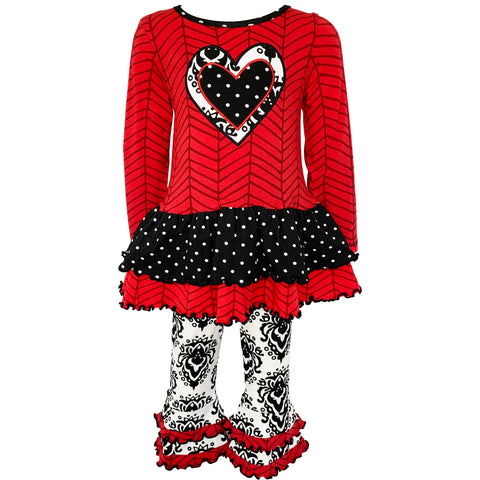 AnnLoren Girls Boutique Winter Damask Holiday Heart Polka Dots Herringbone Tunic and Legging Set sz 2/3T-9/10