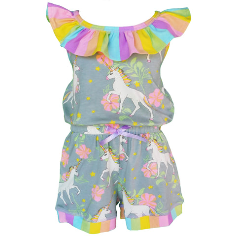 AnnLoren Little Big Girls Jumpsuit Magical Unicorn Rainbows Spring One Pc Boutique Clothing
