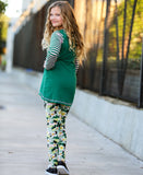 AnnLoren Floral Camouflage High Lo Tunic and Striped Leggings