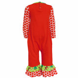 AnnLoren Baby Girls Christmas Reindeer and Polka Dot Romper