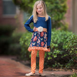 AnnLoren Girls Boutique Autumn Fall Floral Dress and Polka Dot Dress Legging Set sz 2/3T-11/12