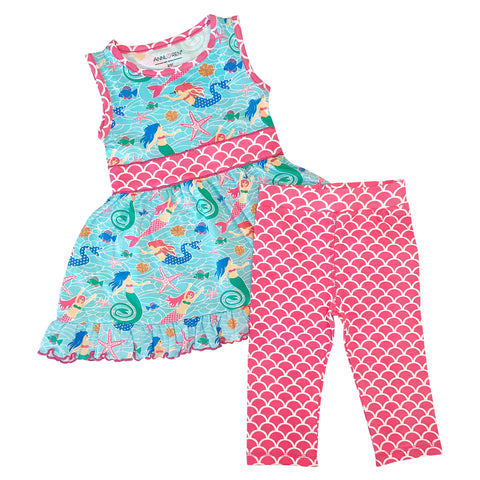 AnnLoren Little Toddler Big Girls' Mermaid Dress Leggings Boutique Clothing Set Sizes 2/3T - 9/10