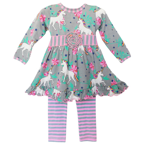 AnnLoren Girls Unicorns and Rainbows Dress & Leggings Back to School Clothing