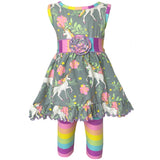 AnnLoren Little Toddler Big Girls' Unicorns Rainbow Dress Leggings Boutique Clothing Set