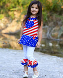 AnnLoren Big Little Girls' 4th of July Star Heart Tunic Leggings Toddler Holiday Clothing