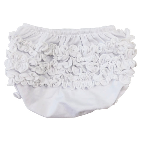 AnnLoren Girls White Knit Ruffled Butt Bloomer Baby/Toddler Diaper Cover