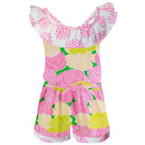 AnnLoren Big Little Girls Pink Bloom Floral Polka Dots Shorts Jumpsuit Summer One Piece Outfit