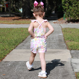 AnnLoren Big Little Girls Pink Feather & Polka Dots Shorts Jumpsuit Spring Summer One Piece Outfit
