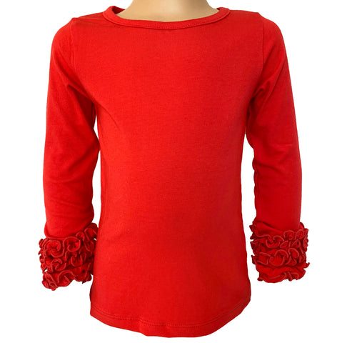 AnnLoren Baby Big Girls Boutique Long Sleeve Red Ruffle Layering T-shirt Tee Shirt Soft Cotton Undershirt sz 2/3T-7/8