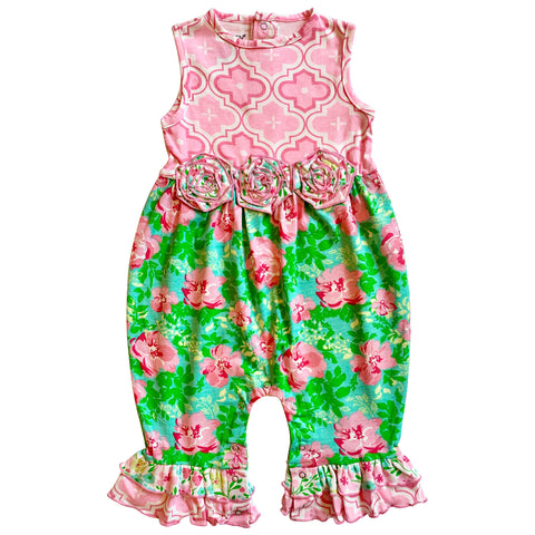 AnnLoren Spring Rose Floral Baby Girls' Romper Toddler Jumpsuit Summer