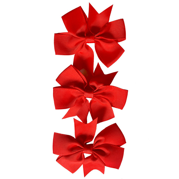 "Set of 3- RED 3"" Ribbon Bow Clips"