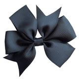 "Set of 3- Black 3"" Ribbon Bow Clips"
