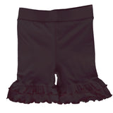 AnnLoren Girls Black Stretch Cotton Knit RuffleButts Shorts Baby/Toddler