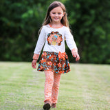 AnnLoren Big Little Girls Boutique Clothing Fall Outfit Floral Turkey Tunic & Leggings sz 2/3T-9/10
