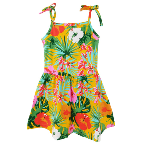AnnLoren Big Little Girls Hawaiian Hibiscus Floral Tropical Kids Swing Dress Summer Children's Wear