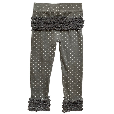 AnnLoren Baby Toddler Big Girls Boutique Grey Polka Dot Ruffle Butt Leggings Set sz 6M-2/3T