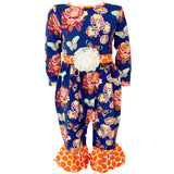 AnnLoren Baby/Toddler Girls Boutique Blue Butterfly Autumn Romper Jumpsuit