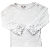AnnLoren Baby Big Girls Boutique Long Sleeve White Ruffle Layering T-shirt