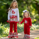 AnnLoren Girls Red Polka Dot & Floral Ladybug Holiday Rumba Set