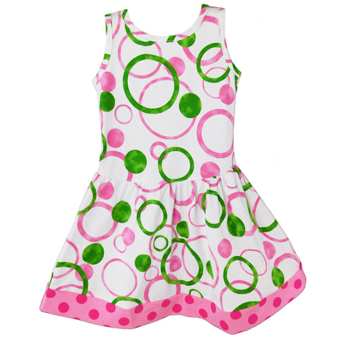 AnnLoren Big Little Girls Pink Green Bubble Design Cotton Knit Swing Dress Holiday Boutique Easter Clothes