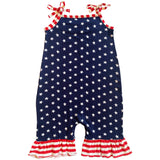 AnnLoren Star & Stripes July 4th Patriotic Baby Girls' Romper Toddler Jumpsuit Sizes 3M - 24M