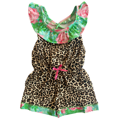 AnnLoren Little Big Girls Jumpsuit Leopard Floral Spring Summer One Pc Boutique Clothing Sizes 2/3T - 11/12
