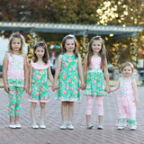 AnnLoren Little Toddler Big Girls' Easter Bunny Floral Tunic Leggings Boutique Clothing Set Sizes 2/3T - 9/10