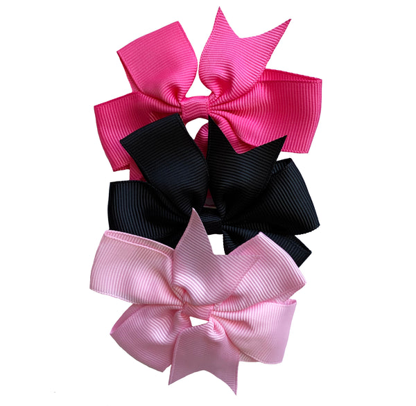 "Set of 3- Baby Pink, Hot Pink, Black 3"" Ribbon Bow Clips"