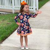AnnLoren Little Girls Boutique Butterfly Damask Floral Lace. Soft Cotton Fall Winter Dress sz 2/3T-11/12