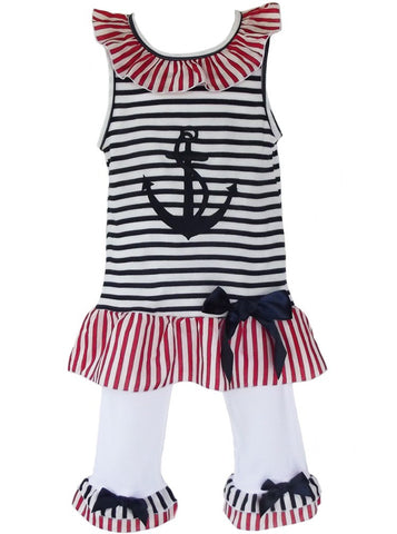 AnnLoren Girls Boutique Patriotic Sailor Outfit Tunic and Capri Leggings