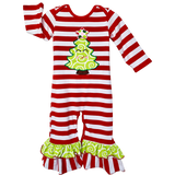 AnnLoren Baby Girls Boutique Happy Christmas Tree Red Striped Romper sz 6M-24M