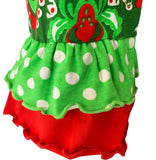 AnnLoren Baby Girls Boutique Original Red Green Damask Christmas Tree Rudolph Reindeer Romper One Piece 6M-24M
