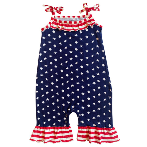 AnnLoren Star & Stripes July 4th Patriotic Baby Girls' Romper Toddler Jumpsuit