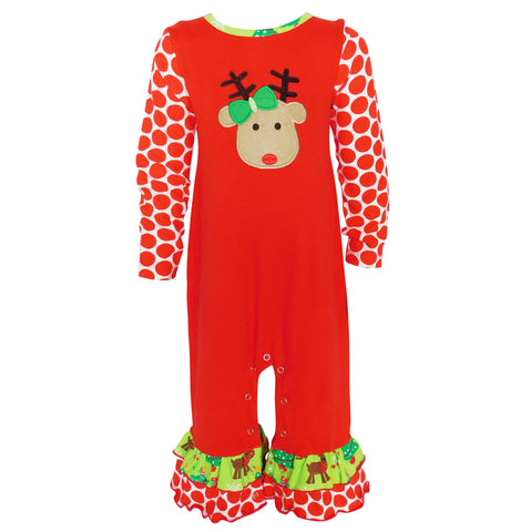 AnnLoren Baby Girls Boutique Original Red Green Christmas Tree Rudolph Reindeer Holiday Romper sz 6M-24M