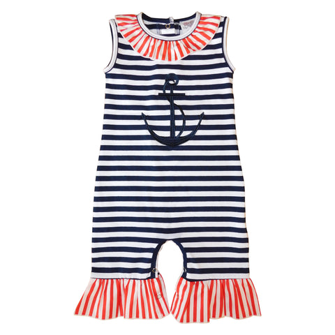 AnnLoren Baby Girls Summer Nautical Anchor Sailor Boutique Romper