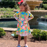 AnnLoren Baby Big Girls Boutique Floral Herringbone Soft Cotton Fall Winter Dress sz 2/3T-11/12