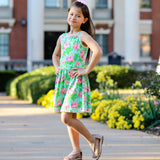 AnnLoren Little & Big Girls Spring Summer Floral Roses Sleeveless Dress Boutique Clothing