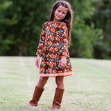 AnnLoren Baby Big Girls Boutique Fall Thanksgiving Floral Soft Cotton Winter Dress sz 2/3T-11/12