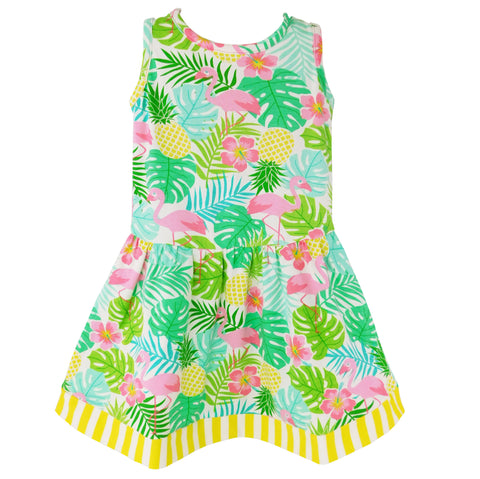 AnnLoren Little Big Girls Pink Flamingo Palm Tree Kids Swing Tropical Dress Spring Summer