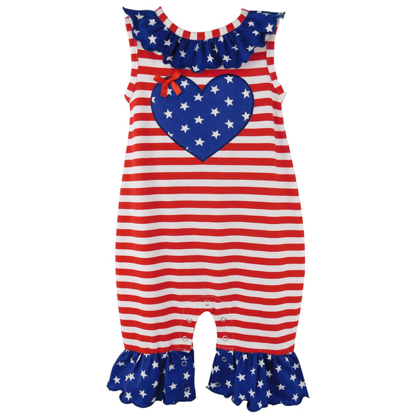 AnnLoren Fourth of July I Heart America Flag Baby Girls' Romper Holiday Onesie