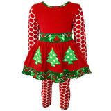 AnnLoren Girls Boutique Winter Holiday Red Green Damask Dress and Legging Set sz 2/3T-9/10