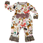 AnnLoren Girls Long Sleeve Forest Animal Friends Baby Toddler Romper Size 6 Mo-24 Mo