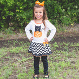 AnnLoren Girls' Halloween Orange Pumpkin and Black Cat Dress & Leggings Outfit
