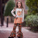 AnnLoren Girls Orange Pumpkin Autumn Floral Thanksgiving Tunic & Ruffle Pants Outfit