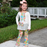 AnnLoren Girls Herringbone Floral Tuxedo Bow Tunic & Pants Clothing Outfit Set sz 2/3T-9/10