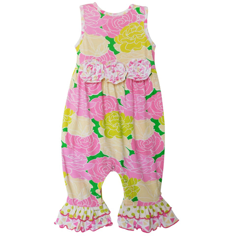 AnnLoren Boutique Easter Floral Baby Girls Ruffle Romper Onesie Holiday Infant Toddler Jumpsuit