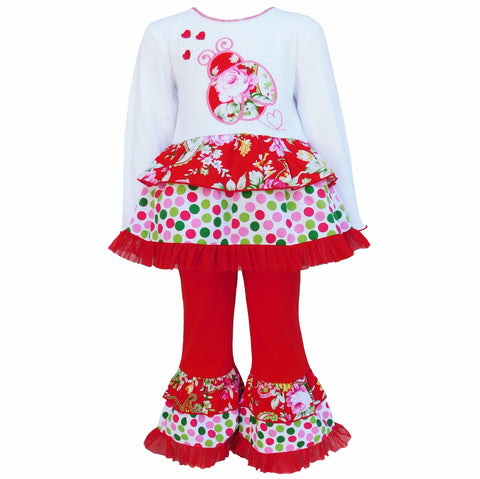 AnnLoren Girls Valentine's Day Red Polka Dot & Floral Ladybug Set