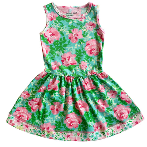 AnnLoren Little & Big Girls Spring Easter Floral Roses Sleeveless Dress Boutique Clothing Sizes 2/3T - 11/12