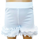 AnnLoren Girls White Knit Ruffle Shorts 4/5T-7/8